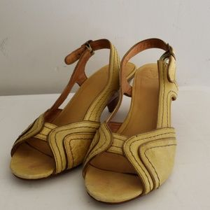 Frye Yellow Leather Sandals Size 7.5